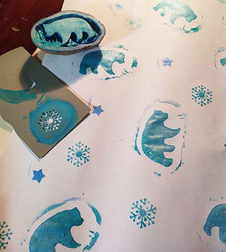 potato prints & pochoir wrapping paper