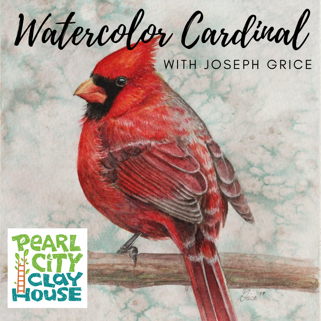 Watercolor cardinal with Joseph Grice